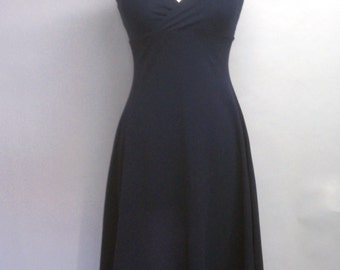 CLEARANCE Halter Dress Navy Blue Cotton Lycra Flared High-Low Hem Size Medium