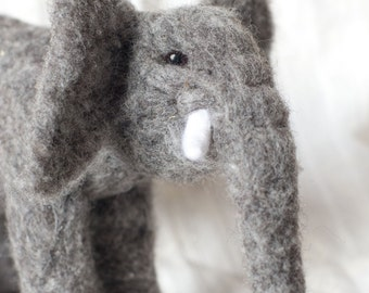 Needle Felted Elephant Toy made from Natural Canadian Wool