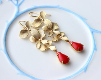 Triple Cascading Gold Orchid Earrings with red teardrops, triple flower earrings, triple earrings, Bridal earrings, gold orchid earrings