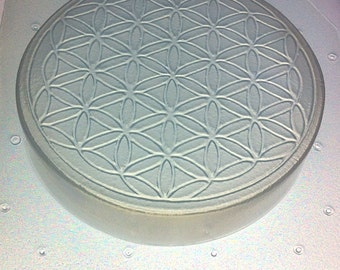 "Flexible Soap or Resin Mold Sacred Geometry Flower of Life 4"" Diameter x 0.75"" Deep"