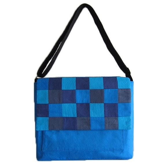 Unisex Messenger Bag with Blue Pixel Flap