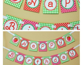 Sweet Strawberry Birthday Banner, Instant Download, Printable, Digital