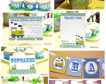 Vintage Train Birthday Party Package, Custom, Printable DIY Package