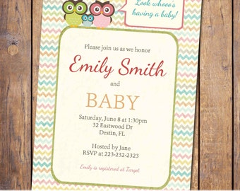owl baby shower invitations, gender neutral baby shower invitation, modern baby shower invitation, chevron, digital, printable file (item2)