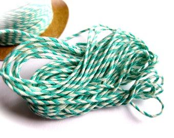 Minty! Stripe Mint & White Baker's Twine-5 Yard Lot-Pastry, Cookie Packaging-Retro Goody Bag-Bridal-Baby Shower-Party Decor-Summer Gift Wrap