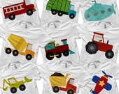Transportation Bundle Pack - Iron on Fire Truck Shirt Digital / Boys Garbage Truck Tshirt / Transportation Birthday Party / Dump Truck -D
