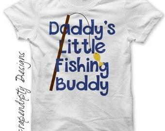 Iron on Baby Fishing Shirt PDF - Fish Iron on Transfer / Daddy's LIttle Fishing Buddy / Kids Fathers Day Tshirt / Baby Shower Gift IT404B