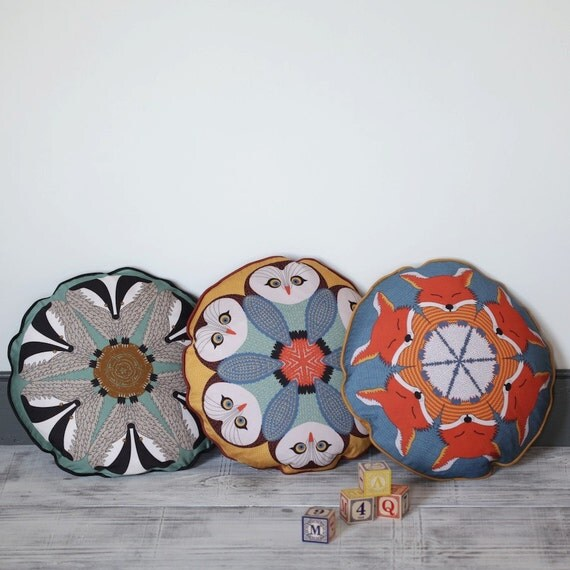 Round Animal Pillows : set of 3 round animal cushions: Fox Owl Badger piped pillows