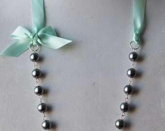 Charcoal Pearl and Mint Green Ribbon Bow Necklace