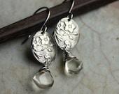 Silver Wildflower Earrings- Green Amethyst Earrings, Flower Earrings