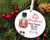 Nutcracker Christmas Ornament - Newborn Birthday Weight Length - Personalized Name Porcelain Holiday Gift - orn286 - Peachwik - Custom Color - peachwik