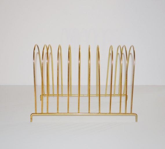 Brass Rack Brass File Rack File Folder Organizer Record Rack Plate Holder Mid Century Wire Desk Accessory Gold Rack