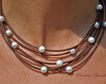 Pearl and Leather Necklace - 5 Strand Leather and Pearl Necklace - Leather and Pearl Jewelry - Pearl and Leather Jewelry - Leather Necklace