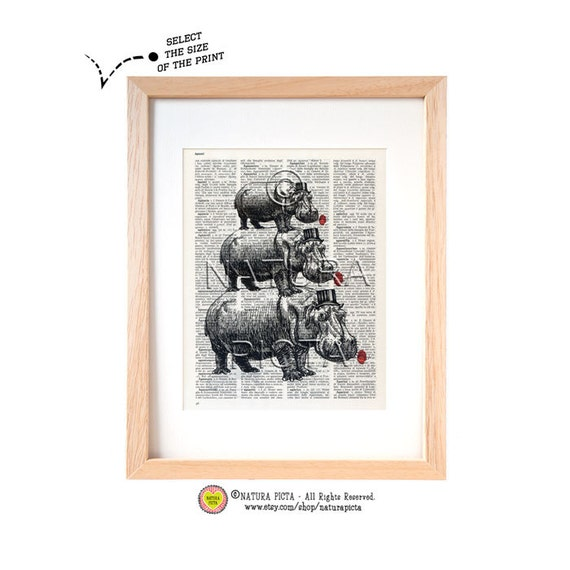 Hippos with poppies dictionary print-Hippos art print-Hippos book page-Funny animal prints-Upcycled Dictionary art-by NATURA PICTAbook page