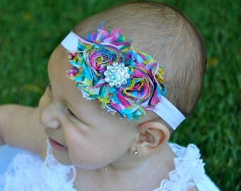 Rainbow Baby Headband - Rainbow Headband - Colorful Headband - Rainbow Flower