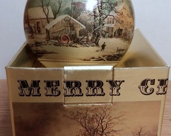 Vintage Currier and Ives Glass Ornament      1973 with Original Box