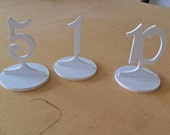 """Plastic PVC Table Numbers 4""""  Minis on a stick  3"""" numbers with base 1-10 PVC  Free standing wedding"""
