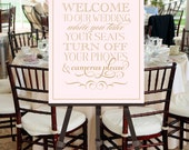 Printable Wedding Welcome Sign Poster -- Unplug INSTANT DOWNLOAD -- Vintage Inspired Mixed Fonts Blush Pink, Gold