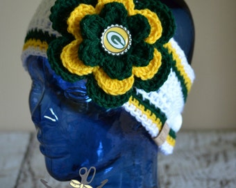 MADE 2 ORDER- Green Bay Packers Inspired Flower Earwarmer Headband with Logo Center - 3 Sizes Available - Toddler through Adult
