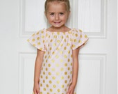 Girls Dress in Pink with Gold Polka Dots. Metallic. Toddler Clothes. Girl. Child. Summer Fashion.