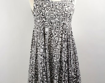 Vintage Black and White Grunge Sundress in Abstract Pattern by Passports circa 1990.  Size S