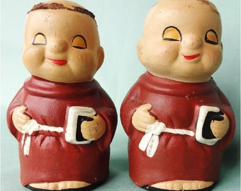 Vintage Monk Salt Pepper Shakers