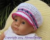 Crochet Pattern 102 - Crochet Hat Pattern - Hat Crochet Pattern for Banded Newsboy Baby Hat - Visor Slouchy Hat Newborn Baby Boy Baby Girl