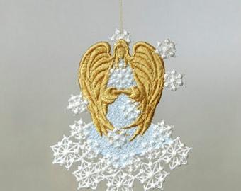 Snow Angel,  Angel Ornament, Machine Embroidery Angel,