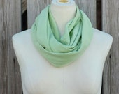 SALE - BAMBOO GREEN Infinity Scarf - Green Eternity Scarf - Celery Green Loop Scarf - Petite Scarf - Kids and Adults