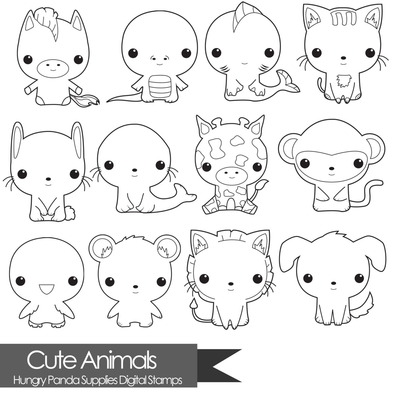 Line Drawings Of Cute Animals : Animal digital stamp cute stamps commercial use