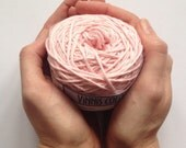 Cotton yarn, hand dyed yarn, ballet pink, light pink double knit DK