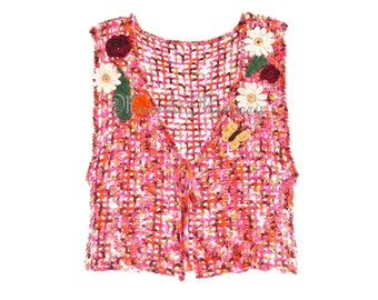 Orange Butterfly Vest Hand Crocheted size M Pink Sweater Top Floral