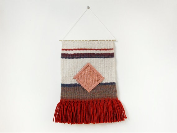 woven wall hanging / tapestry / weaving // coral diamond over gradient reds