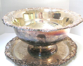 Vintage  Punch Bowl With Tray,Silverplate Newport by Gorham. Housewarming Gift,Wedding Gift,Holiday Parties