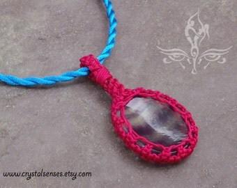 "Fluorite Worry stone Macrame Necklace 20"" (WRM0004)"