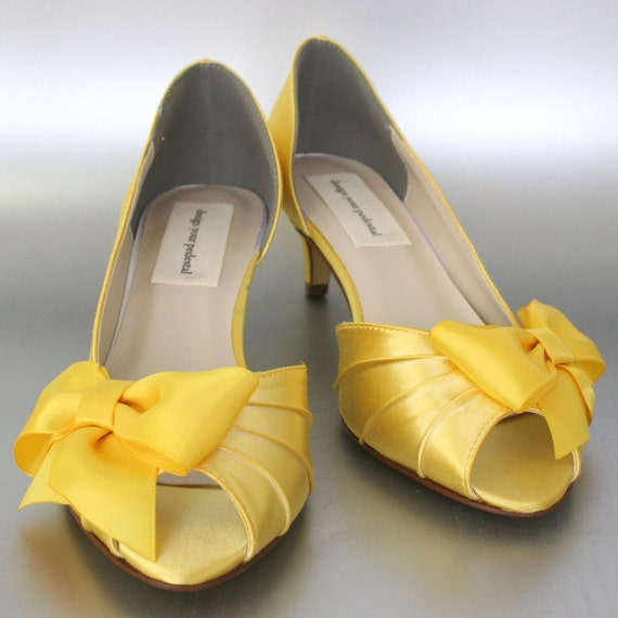 Wedding Shoes -- Yellow Peep Toe Wedding Shoes with Matching Bow - CHOOSE ANY COLOR