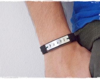 Leather Viking Bracelet, Runic Leather Bracelet, Nordic Bracelet, Handstamped Leather Bracelet, Celtic Leather Bracelet, Saxon Bracelet