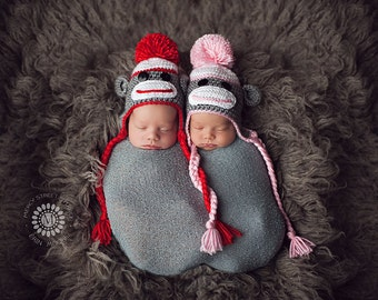 Twin Baby Hats, Baby Sock Monkey Hats, Sock Monkey Photo Props, Toddler Sock Monkey Hat, Child Sock Monkey Hat, Crochet Baby Hat