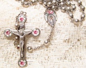 Sterling Silver Rosary Guilloche Enamel Crucifix Cross