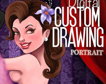 CUSTOM Pin up Digital Drawing full color. Personalized portrait.