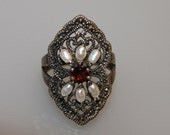 Gorgeous Vintage Sterling Silver Ring SIZE 9 pearls marcasite gemstones and red rhinestone marked 925 thailand signed NF