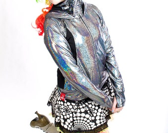 FESTIVAL SALE! Women's Holographic Zip Hoodie in Mercury Silver-- BeastWares Incandescent Armor