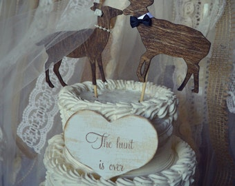 Deer wedding cake topper-Hunting wedding cake topper-Deer bride and groom-Hunting-Buck-Wedding Cake Topper