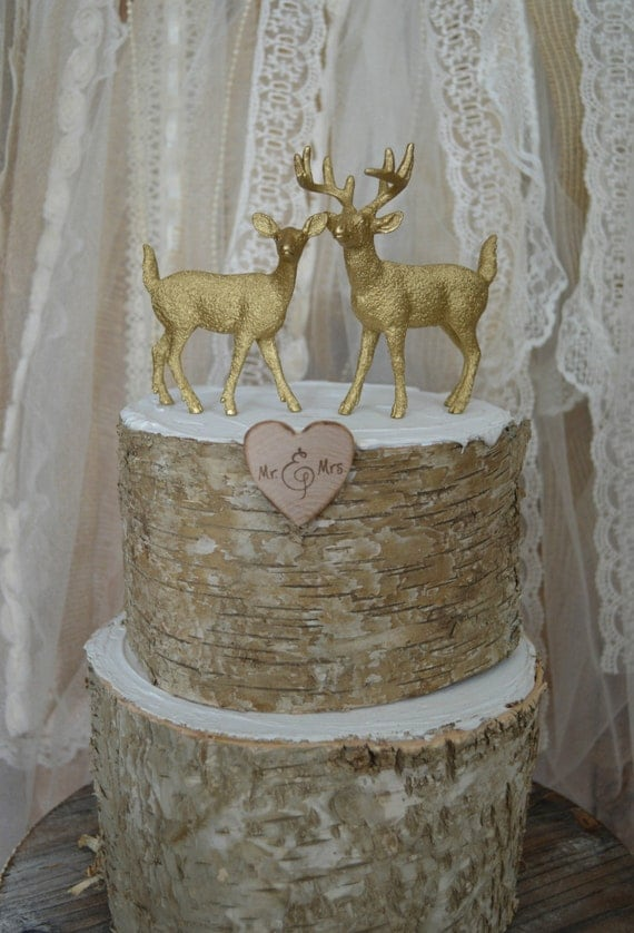 buck and doe wedding cake toppers deer buck and doe wedding cake topper fall wedding rustic 12203