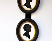 handmade framed oval silhouette pictures Jill and David 1970's