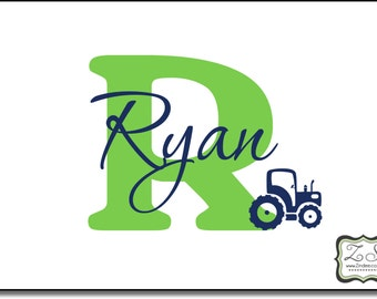"""Tractor decal. Personalized Name and Initial Vinyl Decal with Tractor 30""""w x 23""""h- for walls,doors, windows, mirrors, crafts, and more"""