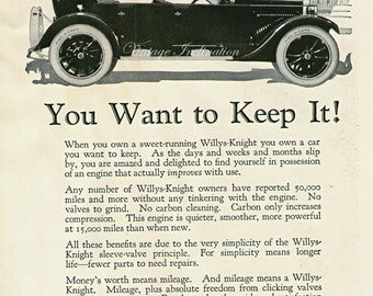 Antique 1922 Car Ad Willys Knight, advertising print decor