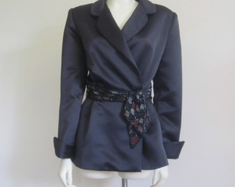 Bob Mackie / Neiman Marcus / Bob Mackie Jacket / 80s Evening Wear / Peplum Jacket / Black Beaded Jacket / Designer /