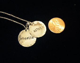 Mom Necklace with Kids' - Two Discs - Personalized Necklace - Sterling Silver