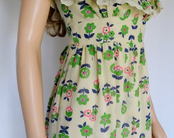 Vintage 1970's YOUNG EDWARDIAN Arpeja NeoN FLoWeR HiPPiE BoHo Woodstock Prairie Dress S